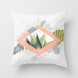 Abstract geometrical and botanical shapes I Throw Pillow