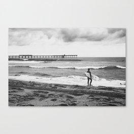 Surfer Boy at the Pier Canvas Print