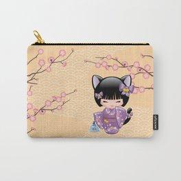 Japanese Neko Kokeshi Doll V2 Carry-All Pouch