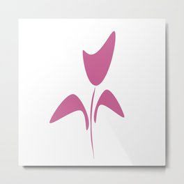 Cute Pink Ink Art Tulip Flower Metal Print