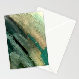 Green Thumb - an abstract mixed media piece in greens and blues Stationery Cards