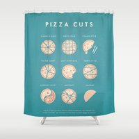 pizza Shower Curtains featuring Pizza by Travel Poster Co.