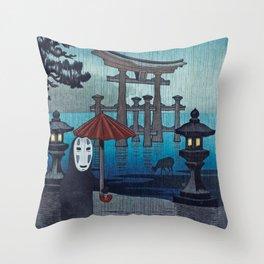 No face Kaonashi vintage japanese mashup Throw Pillow