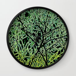 Tangled Tree Branches in Leaf and Lime Green Wall Clock