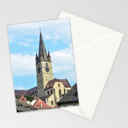 sibiu city romania Parochial Evangelical Church landmark architecture Stationery Cards