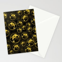 Pug Puppy Pattern gold and black Stationery Cards