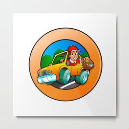 Cartoon man in delivery car Metal Print