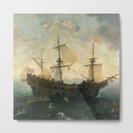 Vintage Pacific Ocean Coastal Sail Metal Print