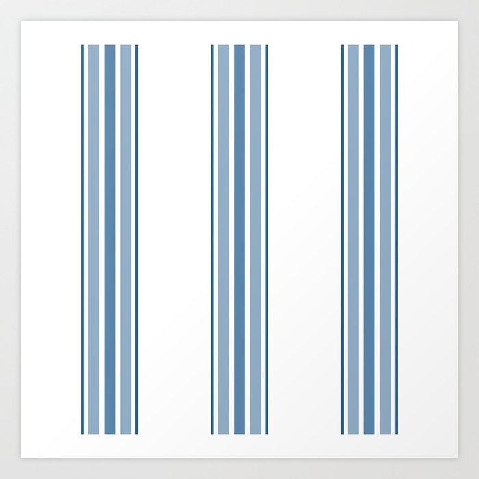 Farmhouse Blue Ticking Stripes on White Kunstdrucke