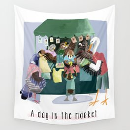 A day in the market Wall Tapestry