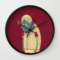 drunk Wall Clocks featuring Drunk by Renato Klieger Gennari