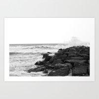 Black and White - Beach  Art Print