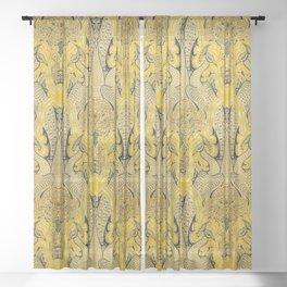 Yellow Peacock Vintage Fabric Sheer Curtain