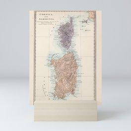 Vintage Corsica and Sardinia Map (1865) Mini Art Print