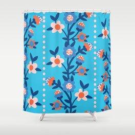 Chintzy Floral Stripe Shower Curtain
