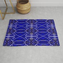 Tile #8 Black-Blue Line Art on Classic Blue Rug