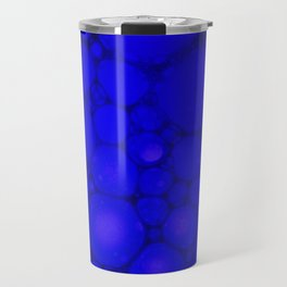 Blue Oil on Water Droplets Abstract Travel Mug