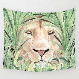 Lion staring through savanna grass, watercolor art.  Wall Tapestry