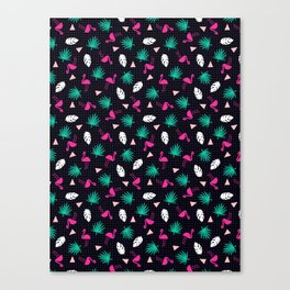 The Dillio - palm springs memphis throwback grid pattern flamingo tropical chilled vibes Canvas Print