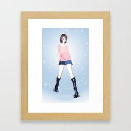 Anime Girl Standing Pose Framed Art Print