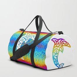Iridescent Dolphin on White Duffle Bag