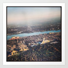 Flying over Montreal' stade Art Print