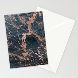 Blue & Rose Gold Marble Stationery Cards