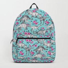 Dinosaurs and Roses - turquoise blue Backpack