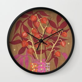 Chinese Lanterns, Physalis, Paper Collage Papercut Autumn Flowers Abstract Floral Wall Clock
