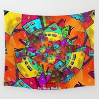 popart Wall Tapestries featuring Village Popart by Nico Bielow by nicobielow