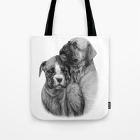 puppies Tote Bags featuring Boxer Puppies by Danguole Serstinskaja
