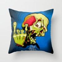 rock n roll Throw Pillows featuring Rock n' Roll Skull by Vida Graffiti