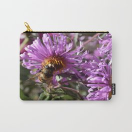 Busy Bee on a Violet Flower Carry-All Pouch