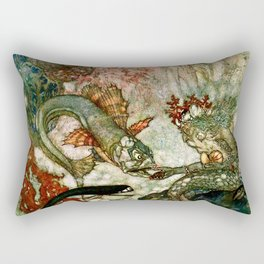 """King of the Mermaids"" Fairy Tale Art by Edmund Dulac Rectangular Pillow"