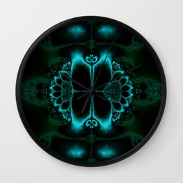 Dark Forest Lotus Fractal Art Print Wall Clock