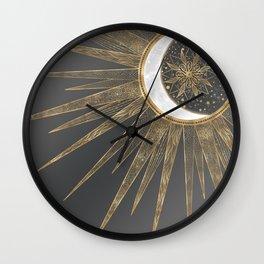 Elegant Gold Doodles Sun Moon Mandala Design Wall Clock