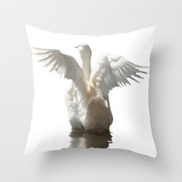 White Duck Flapping Wings on Water Vector Throw Pillow