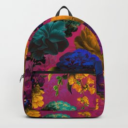 Vintage & Shabby Chic - Purple Botanical Lush Flowers Midnight Garden Backpack