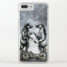 Fighting Horses Clear iPhone Case