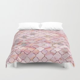 Moroccan Pattern in Marble and quartz crystal Texture Duvet Cover