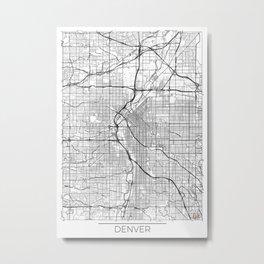 Denver Map White Metal Print