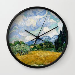 Vincent Van Gogh Wheat Field With Cypresses Wall Clock
