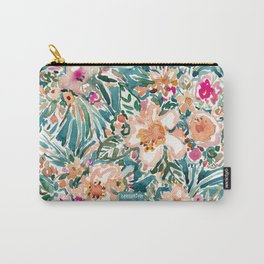 TROPICAL TUMBLE Colorful Paradise Floral Carry-All Pouch