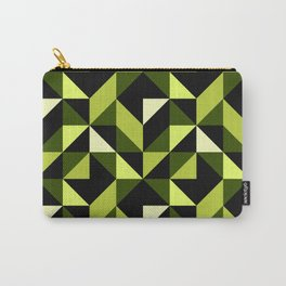 Mid Century Modern Half Square Triangles Black Chartreuse Carry-All Pouch