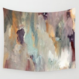 Gentle Beauty [4] - an elegant acrylic piece in deep purple, red, gold, and white Wall Tapestry