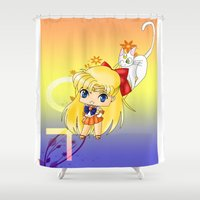 sailor venus Shower Curtains featuring Sailor Venus by artwaste