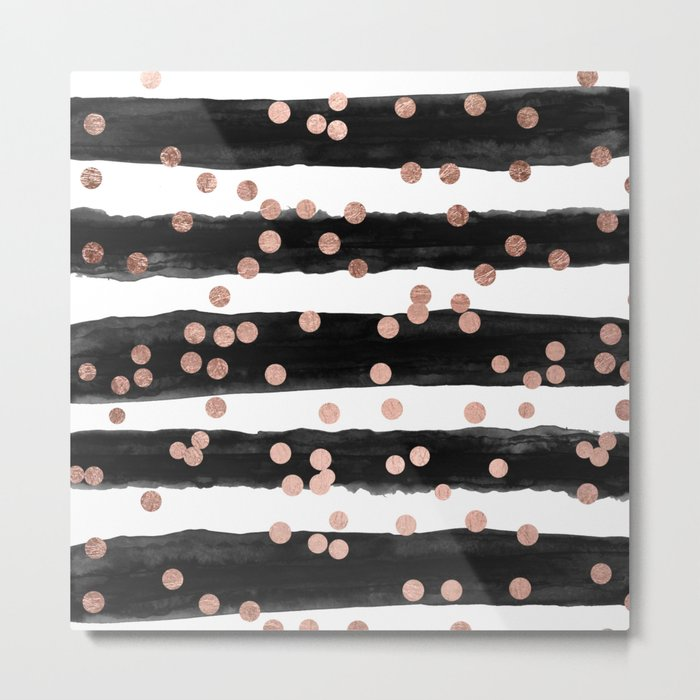 Girly rose gold confetti black watercolor stripes Metal Print