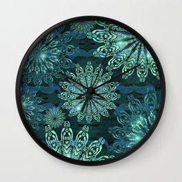 Aqua Green Snowflake Sparkle Wall Clock