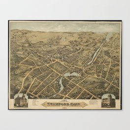 Vintage Pictorial Map of Stamford CT (1875) Canvas Print