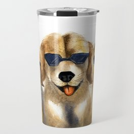 Yellow dogs  in funny glasses Travel Mug